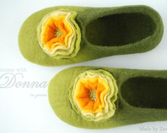 CUSTOM made slippers/ home shoes DONNA in green