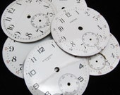 Steampunk Watch Dials Vintage Antique Faces Parts Enamel Porcelain Metal Mixed Media   BF 88
