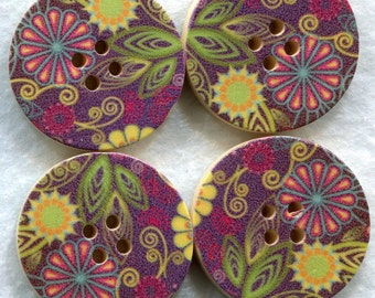 Flower Buttons Decorated Wooden Buttons 30mm (1 1/4 inch) Set of 4 /BT73