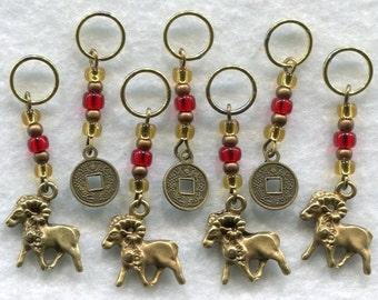 Year of The Ram Goat Sheep Knitting Stitch Markers Chinese Zodiac Lucky Money Chinese New Year  Set of 7 /SM88