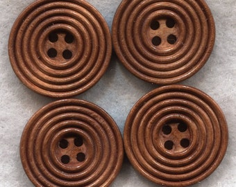 Rusty Brown Wood Buttons Decorated Wooden Buttons 23mm (1 inch) Set of 8 /BT204