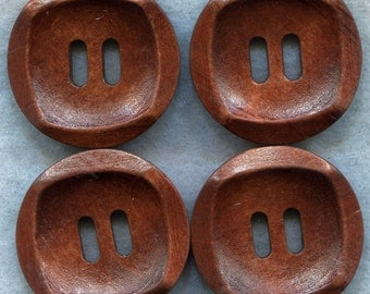 Rusty Brown Wood Buttons Wooden Buttons 30mm (1 1/4 inch) Set of 8 /BT203