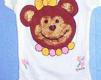 Gold Bear Baby Bodysuit, Gold Glitter Bear, Baby Girl Clothes, Glitzy Baby Clothes, Sparkly Baby Girl Clothes