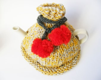 Hand Knitted Tea Cosy, Grey, Mustard with Pom Poms, gift for her, hostess gift, mustard knitted cozy, handmade tea cozy, mother's day gift