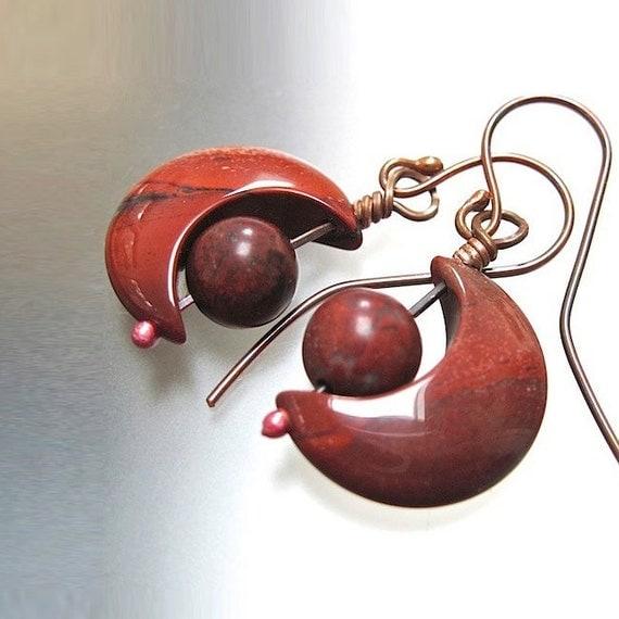 Crescent Moon Earrings Jasper Poppy Red Gemstones, Copper