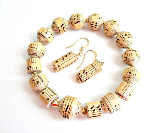 Musical Note, PAPER BEAD Bracelet and Earrings - shipping included