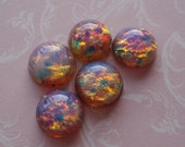 Vintage Czech 11mm Pink Fire Opal Harlequin Round Flat Back Glass Cabs (3 pieces)