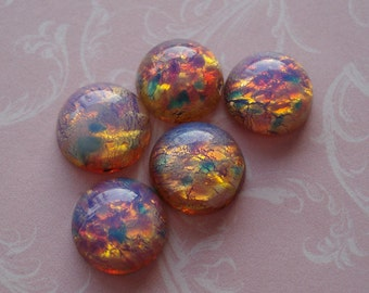 4 Vintage Czech 11mm Fire Opal Harlequin Round Flat Back Glass Cabs