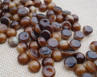 Tiny Vintage 5mm Shades of  Brown Swirled Unfoiled Flat Back Round Glass Cabs (12 pieces)