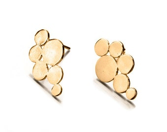 Bubble gold stud earring, Modern bubbles, 14 Karat Gold Bubble Earrings, Gold Circles Earrings