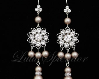 Bridal Chandelier Earrings Champagne Pearl RhinestoneWedding Earrings Vintage style Earrings  ANNELISSE