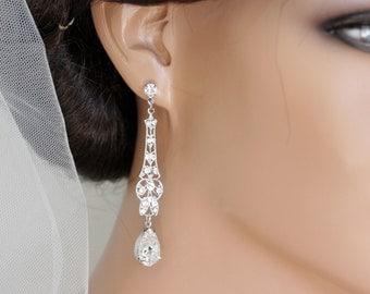 Art Deco Earrings Bridal Earrings Crystal Wedding Earrings Long Wedding Earrings Dangle Earrings Vintage Wedding Jewelry MARCELLA CRYSTAL
