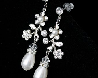 Bridal Earrings Flower Wedding Earrings Swarovski Crystal Rhinestone Pearl Drop Dangle Wedding Earrings Delicate Wedding Jewelry SABINE GDN
