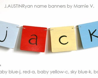 Personalized Wooden Name Banner with 4 Letters, baby and kids art, alphabet, nursery decorations custom name plaque