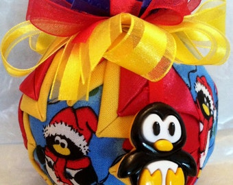 Happy Penguin  Quilted Star Christmas Ornament Hostess Gift, Teacher Gift, Christmas Gift, Stocking Stuffer, Secret Santa