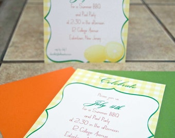 Summer Party Invitation Picnic : Citrus Twist Lemon Invitation set of 10 by Belleza e Luce