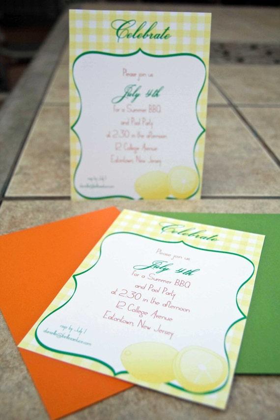 Summer Party Invitation Picnic : Citrus Twist Lemon Invitation set of 10 by Belleza e Luce