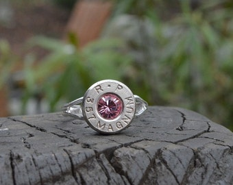 Bullet Shell Ring Handcrafted by me...... nickel silver R-P Remington Peters .357 magnum ring with a pink Swarovski crystal
