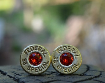 Bullet Earrings stud or post, brass/gold Federal .38 special with Swarovski crystals