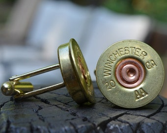 Shotgun Bullet Shell Gold Cufflinks, Winchester AA 20 gauge cufflinks crafted from repurposed shell casings