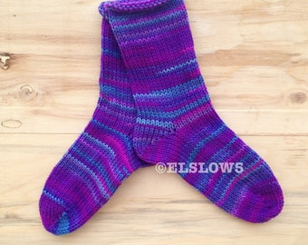 HandKnit Socks in Grape Fizz fits US size 7 to 9 Fabulous Funky Footwear