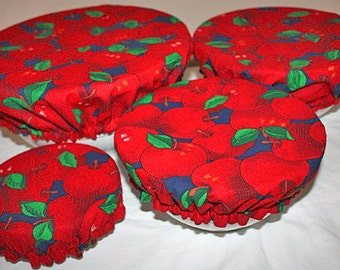 Reusable Food Bowl Basket Container Elastic Picnic Cover Red Apple Cotton Fabric (4 Piece)
