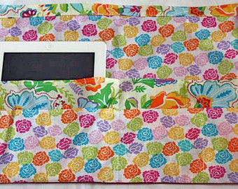 Waist Half Apron Vendor iPad Craft Teacher Art Bright Colorful Flowers Fabric (6 Pockets)
