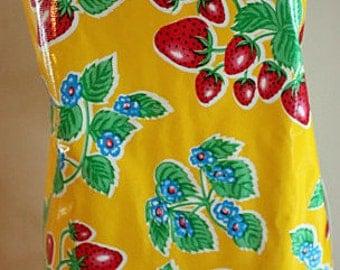 Oil Cloth Apron Full Laminate Adult Yellow Strawberry Fruit