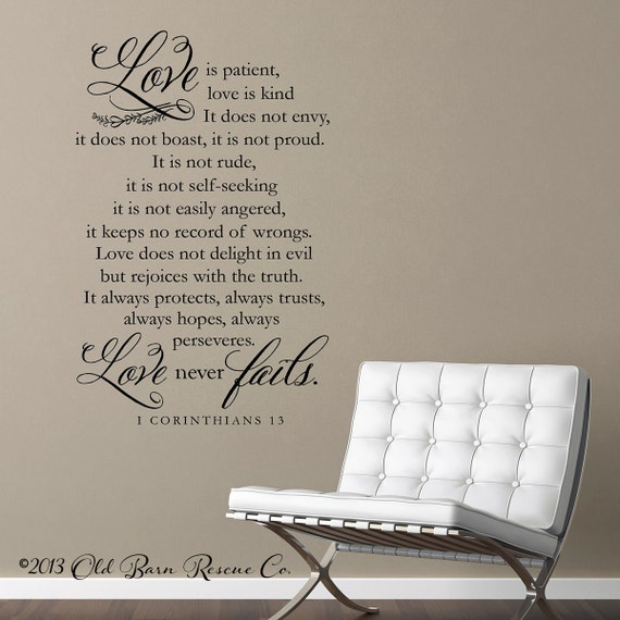 vinyl wall decal love is patient love is by. Black Bedroom Furniture Sets. Home Design Ideas