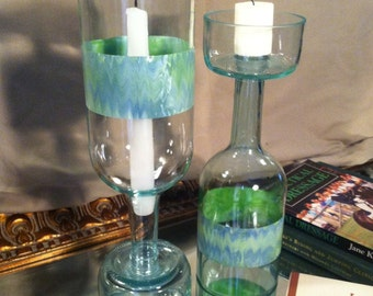 Glass hurricane candle holders from repurposed bottles. Set of two candle holders.