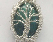 Handmade Solid Sterling Silver Wire Wrap Malachite Pendant