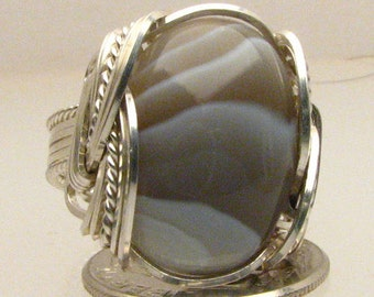 Sterling Silver Wire Wrapped Ring Handmade Sterling Silver Wire Wrapped Ring Botswana Agate Ring
