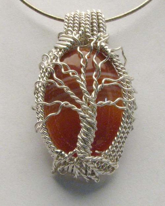 Tree of Life Handmade Solid Sterling Silver Wire Wrapped Red Sodalite Pendant
