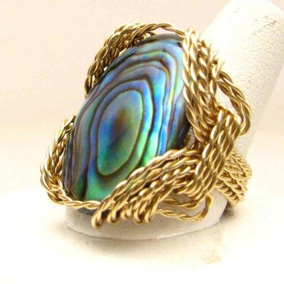 Handmade 14kt Gold Filled Twisted Wire Wrapped Abalone Shell Ring