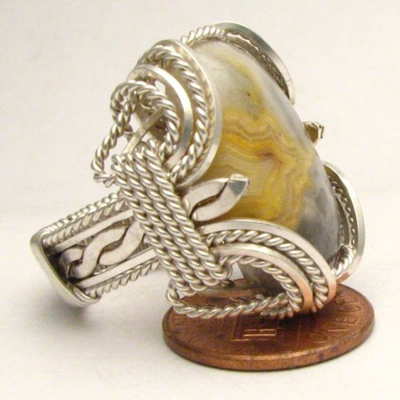 Handmade Sterling Silver Wire Wrap Crazy Lace Agate Ring