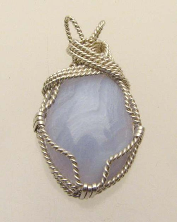 Handmade Sterling Silver Wire Wrap Blue Lace Agate Pendant