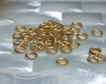 6mm 18g OPEN rings 30pcs Matte GOLD plated Steel Jump Rings Jewelry Jewellery Craft Supplies