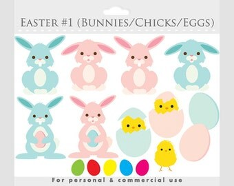 Easter clipart - bunny clip art, chicks, rabbits, eggs, egg clipart, bunnies, for personal and commercial use