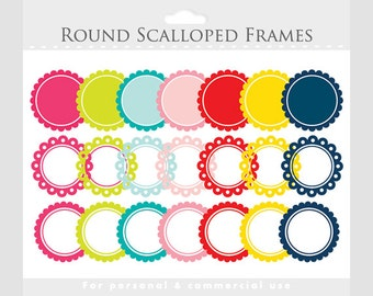Scalloped frames clipart - round frames for collages, photos, digital scrapbooking - red, pink, blue, green, for personal and commercial use