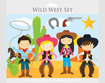Wild west clipart - cowboy clip art, cowgirls, cowboys, horse, lasso, cactus, sheriff badge, background, for personal and commercial use