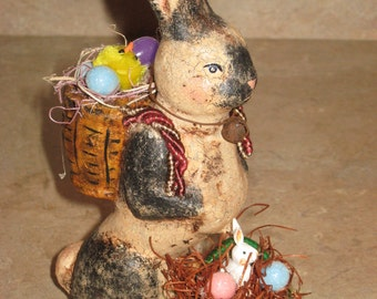 Paper mache Bunny Rabbit Sitting on Back Leggs/Holding Basket