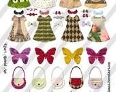 Digital Collage Sheet Paper Doll Fashion Images  (Sheet no. O179) Ephemera-Instant Download