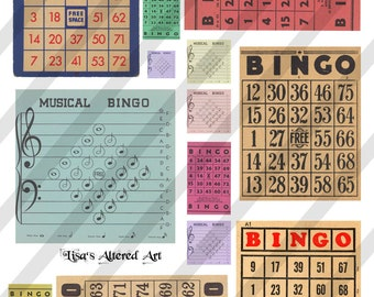 Digital Collage Sheet Vintage Bingo Card Images (Sheet no. O19) Instant Download
