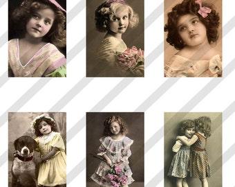 Digital Collage Sheet 1x1.5 inch Charms Vintage Children Images (Sheet no. O24) Instant Download