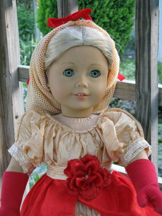 "Regency Era 18"" doll Dress and gloves, snood, waist overlay hand-made & designed  Caroline SALE PRICE"
