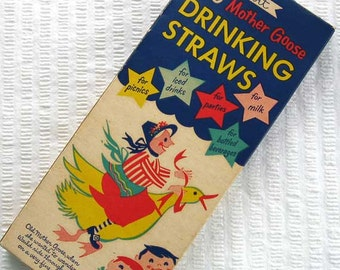 Vintage 1940's Box of Mother Goose Sweetheart Drinking Straws w Advertising, Mother Goose, Cat and Fiddle