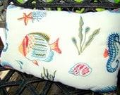 Outdoor pillow - Ivory, ocean theme, sea life, outdoor furniture,  outdoor decor