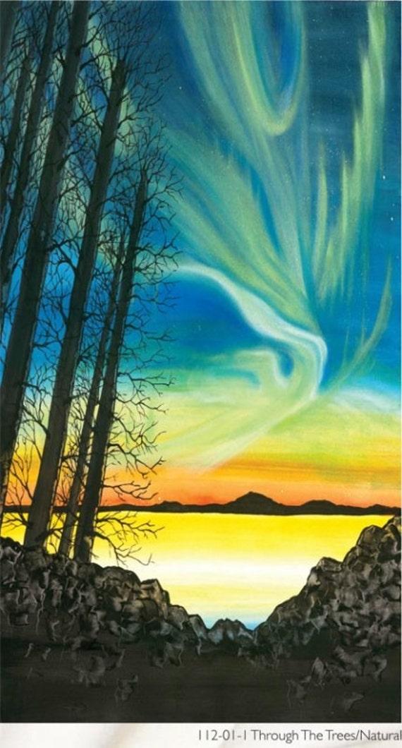 Northern Lights Fabric : Trees sky blue lights aurora borealis fabric panel last in