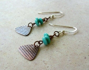 Copper Rounded Triangle Turquoise Earrings