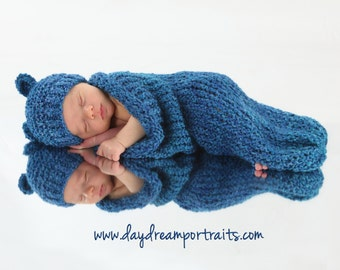 Royal Blue Knit Baby Cocoon and Bear Hat Set, Newborn Photo Prop for Baby Boy or Baby Girl, Baby Boy Outfit, Blue Bear Hat and Cocoon Set
